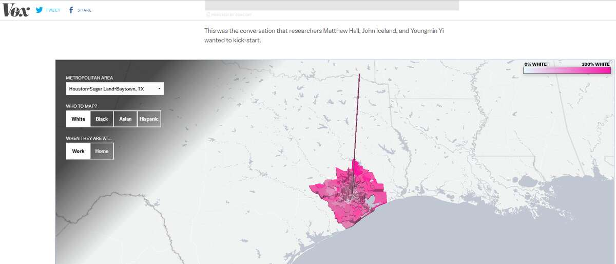 The interactive map shows that a high concentration of the white population in theHouston-Sugar Land-Baytown metropolitan areaworks in downtown and central Houston.