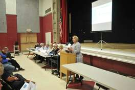 Superintendent of Schools Melony M. Brady-Shanley addresses a budget meeting at The Gilbert School in 2017.