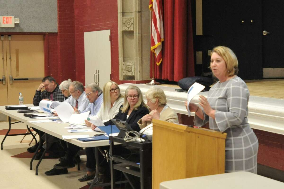 A budget presentation at The Gilbert School in 2017.