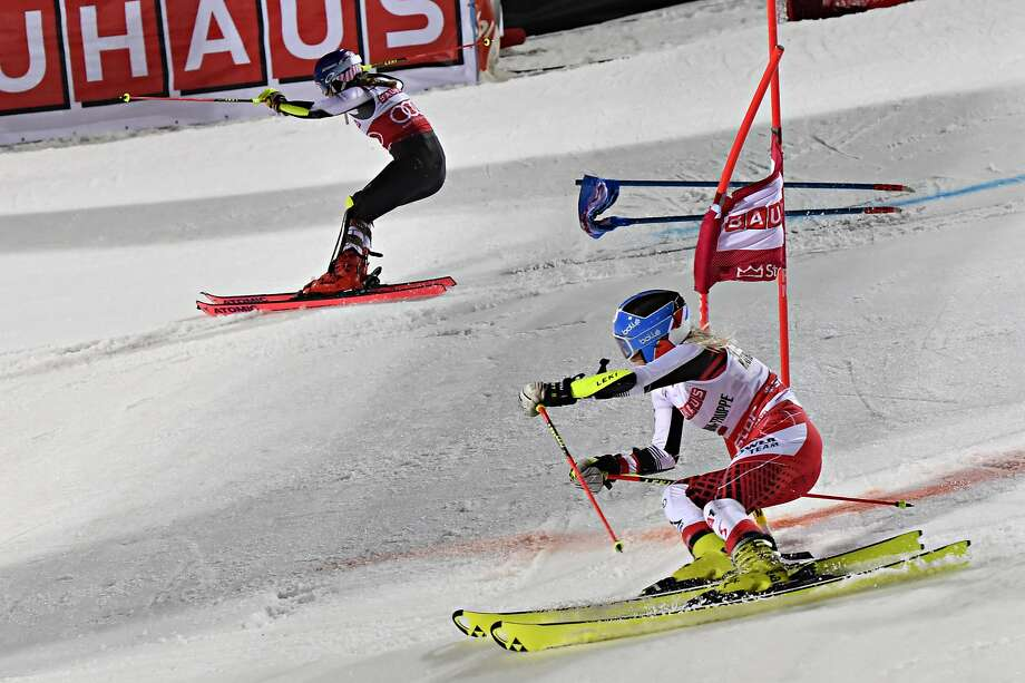 American Mikaela Shiffrin (foreground) outskies Austria's Katharina Truppe in a a parallel city slalom event in Stockholm. Photo: Jonas Ericsson/Agence Zoom / Getty Images