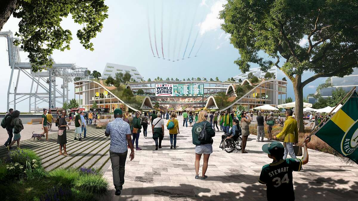 A rendering of the approach of the proposed new Oakland A's Coliseum at Howard Terminal.