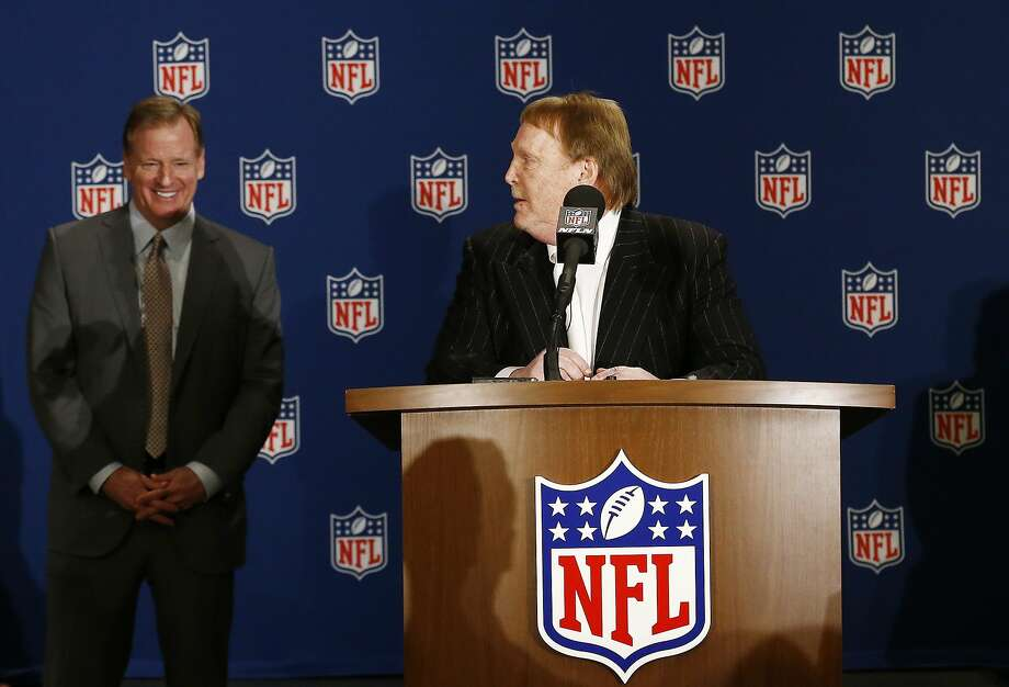 Oakland Raiders owner Mark Davis, right, looks over at NFL Commissioner Roger Goodell, left, during a news conference after owners approved the move of the Raiders to Las Vegas, Monday, March 27, 2017, in Phoenix. (AP Photo/Ross D. Franklin) Photo: Ross D. Franklin / Associated Press