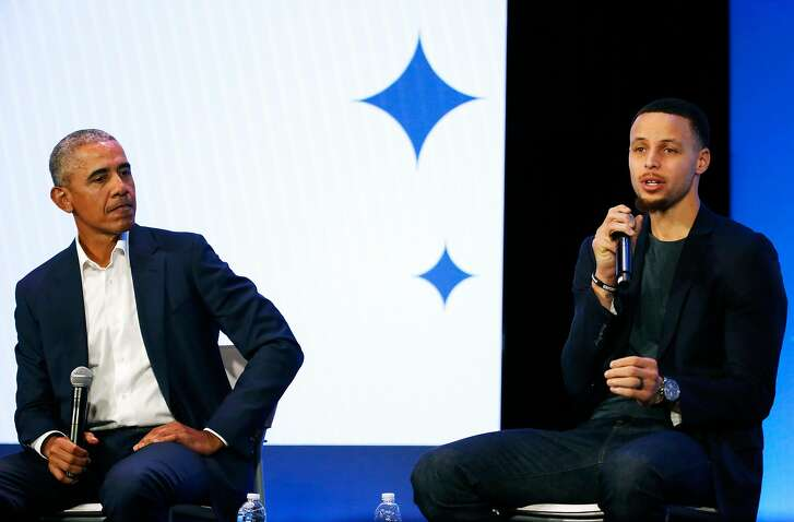 Former President Barack Obama (left) and Golden State Warriors guard Stephen Curry have a town hall conversation at the My Brother's Keeper (MBK) Rising! event at the Oakland Scottish Rite Center in Oakland, Calif. on Tuesday, February 19, 2019. My Brother�s Keeper (MBK) Rising! is a national gathering of the MBK Alliance, now an initiative of the Obama Foundation.