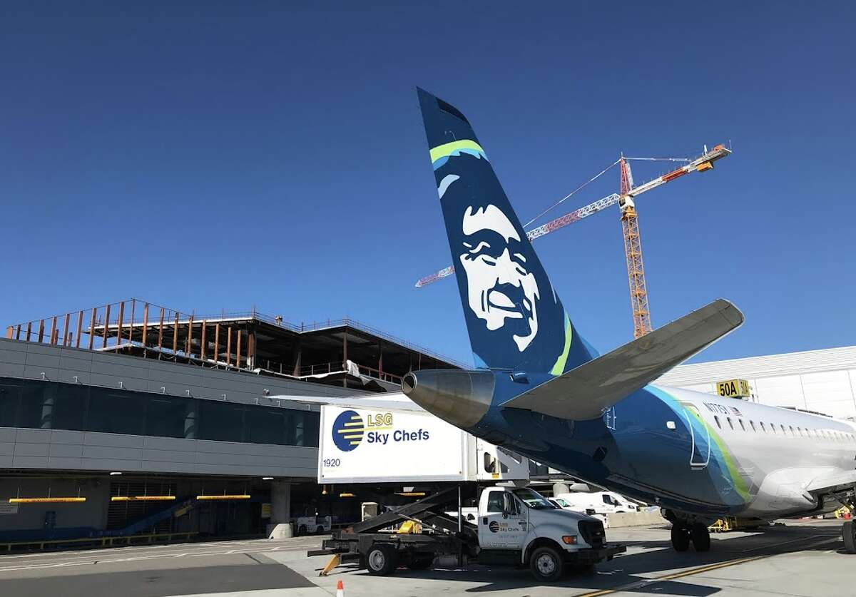 Looking up from the SFO ramp, you can see the steel structure that will house the Alaska Airlines Lounge at SFO-- if it opens this year.