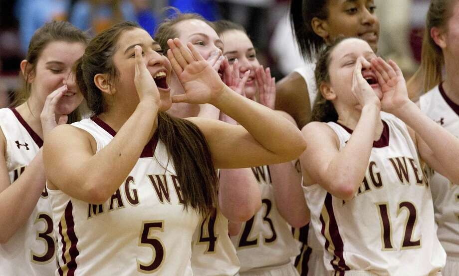 In this file photo, Magnolia West point guard Armairani Trejo (5) shouts with the team toward their fans after defeating Georgetown 55-31 in a Region III-5A high school area basketball playoff game at Hearne High School, Friday, Feb. 15, 2019, in Hearne. Photo: Jason Fochtman, Houston Chronicle / Staff Photographer / © 2019 Houston Chronicle