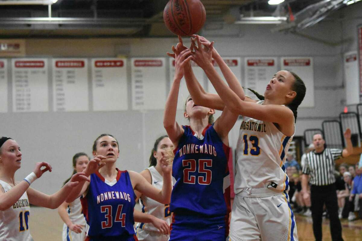 Housatonic's Sydney Segalla grabs a rebound during a Berkshire League semifinals at Northwestern high school on Tuesday, Feb. 19, 2019. (Pete Pagauga, Hearst Connecticut Media)