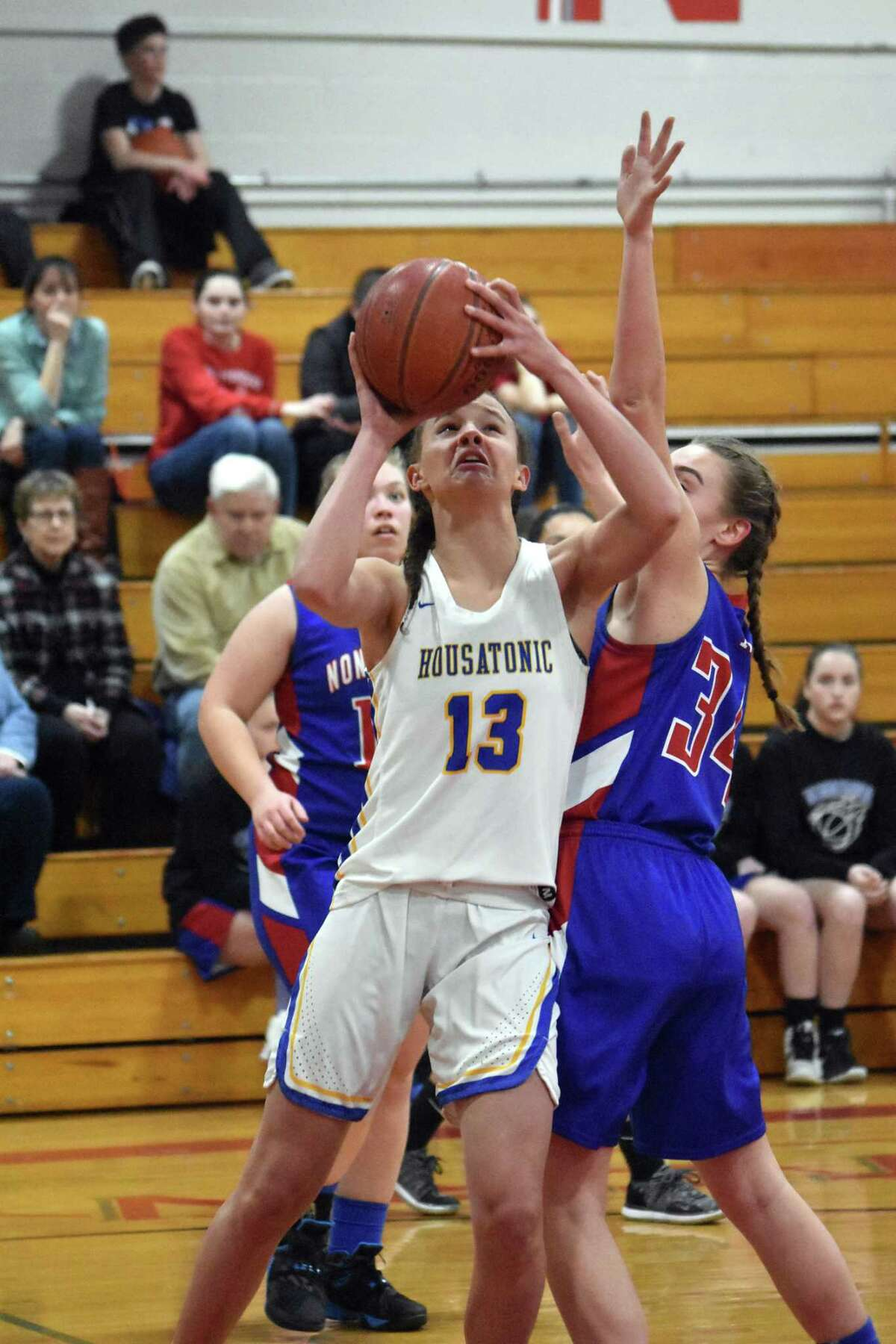 Housatonic's Sydney Segalla goes up for a shot during the Berkshire League semifinals at Northwestern high school on Tuesday, Feb. 19, 2019. (Pete Pagauga, Hearst Connecticut Media)