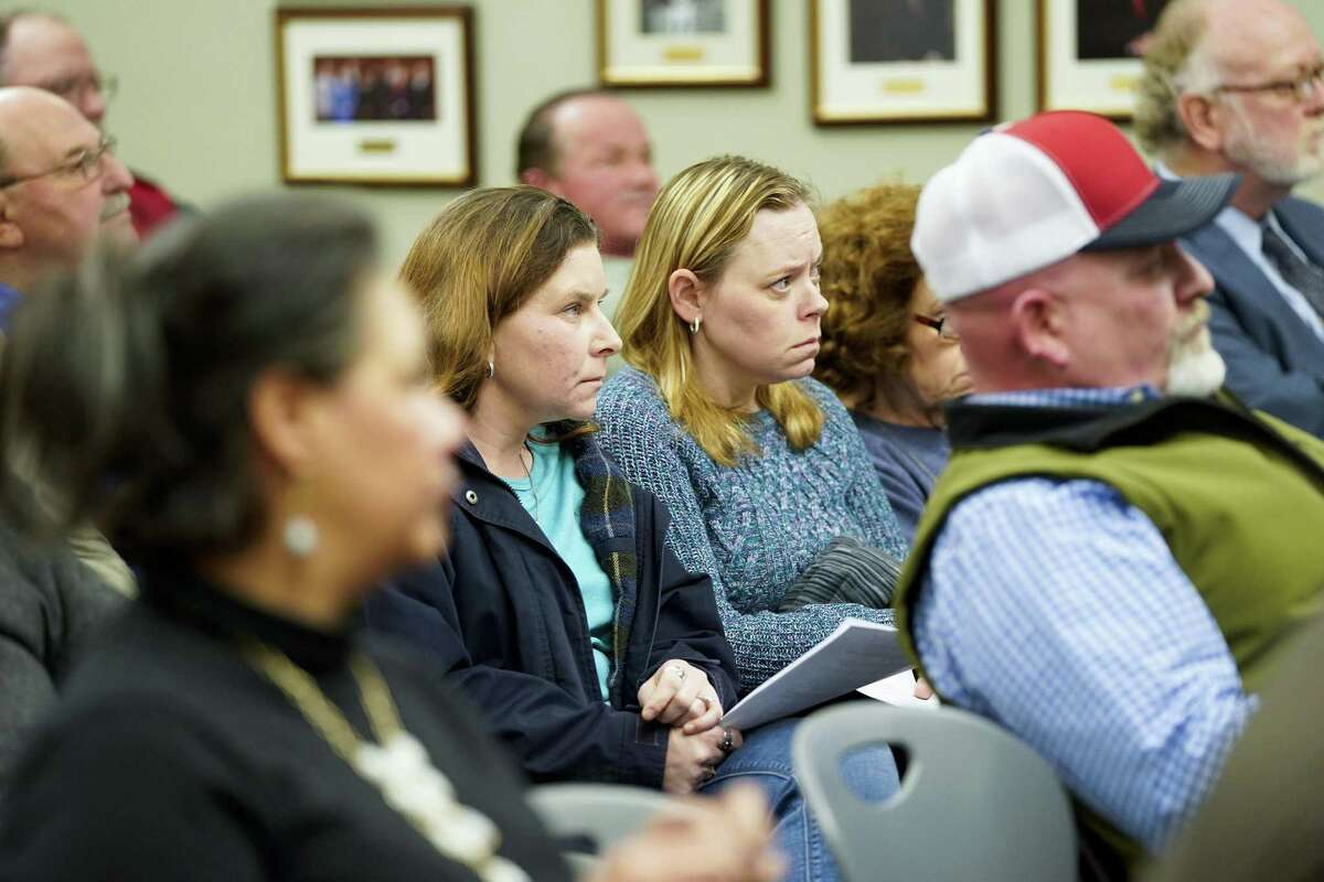 School board meeting attendees listen to former Crosby ISD Superintendent Keith Moore addresses the board during a meeting on Tuesday, Feb. 19, 2019. A recent audit found that the district spent $8 Million more than it collected.