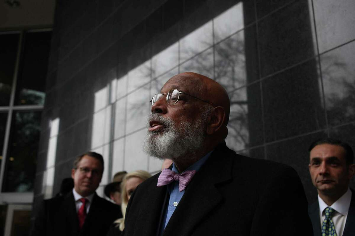 Former U.S. Rep. Craig Washington speaks in support of U.S. District Court Judge Lynn N. Hughes outside the Bob Casey United States Courthouse on Feb. 19, 2019.