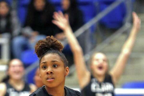 Clark's Ta'niya Jackson scores a basket. Steele vs. Clark girls basketball third-round playoff on Tuesday, February 19, 2019 at Northside Gym.
