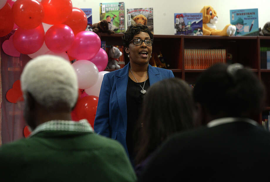 The crowd listens as Ericka Johnson-Allen with the ResponsiveED charter school managament organization addresses a crowd of parents and other community members about their upcoming partnership with Fehl - Price Elementary School at a meeting organized by Beaumont ISD Tuesday. Photo taken Tuesday, February 19, 2019 Kim Brent/The Enterprise Photo: Kim Brent/The Enterprise