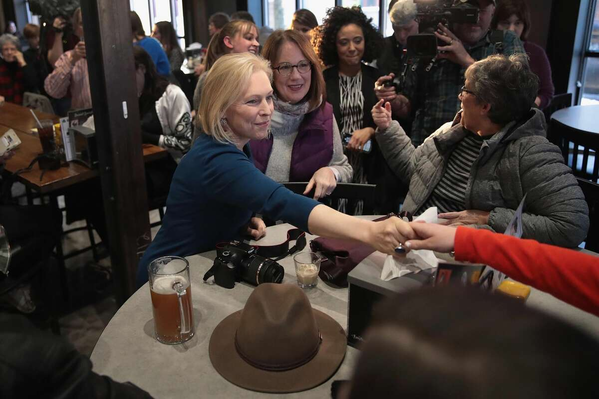 U.S. Senator Kirsten Gillibrand speaks to guests during a campaign stop at the Chrome Horse Saloon on February 18, 2019 in Cedar Rapids, Iowa. Gillibrand, who is seeking the 2020 Democratic nomination for president, made campaign stops in Cedar Rapids and Iowa City today. (Photo by Scott Olson/Getty Images)