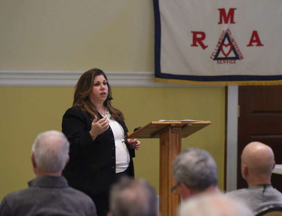 "Town of Greenwich Commission on Aging Director Lori Contadino delivers the presentation ""Age Friendly Greenwich - A Community for All Ages"" during the Retired Men's Association weekly speaker series at First Presbyterian Church in Greenwich, Conn. Wednesday, Jan. 9, 2019. Photo: Tyler Sizemore / Hearst Connecticut Media / Greenwich Time"