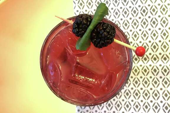 Bourbon and Basil-Blackberry Smash