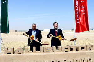 Halliburton and Saudi Arabian officials broke ground on the company's new oilfield chemical plant along the Persian Gulf port of Jubail.