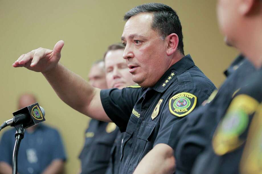 Houston Police Chief Art Acevedo talks to the media during a press conference at the police station on Friday, Feb. 15, 2019 in Houston. Acevedo was updating the media on the investigation on the officer-involved shooting incident at 7815 Harding on Jan. 28 that left the homeowners dead and five police officers injured, including four who were shot. >>Timeline: Gerald Goines' controversial career Photo: Elizabeth Conley, Houston Chronicle / Staff Photographer / © 2018 Houston Chronicle
