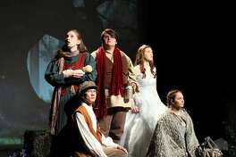 """Roxana High School """"Into the Woods"""" cast, back row left to right, Audrey Bosse, Josh Harris, Meg Bosse; front row left to right, Caleb Sutton, Sydnie Palmer."""