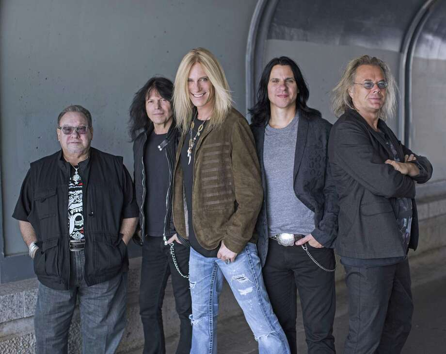 The Guess Who will perform at Waterbury's Palace Theater on March 9. From left are Garry Peterson (drummer and founding member), Rudy Sarzo (bass), Derek Sharp (lead vocals and guitar), Will Evankovich (lead guitar) and Leonard Shaw (keyboard, flute, and sax). Photo: The Guess Who / Contributed Photo