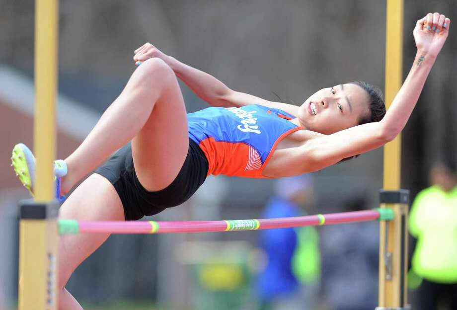 Danbury's Meilee Kry finished fifth in the long jump (18-02) and 10th in the triple jump (34-10.75) at the Eastern States Games in New York last weekend. Photo: Tyler Sizemore / Hearst Connecticut Media / Greenwich Time