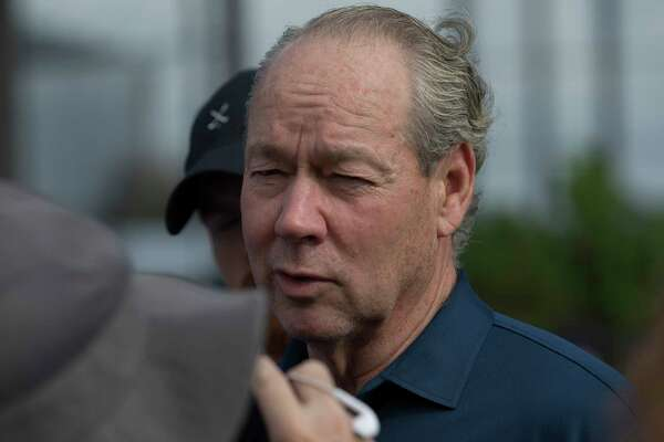 Houston Astros Owner Jim Crane gives an interview before Day 7 of spring training at Fitteam Ballpark of The Palm Beaches on Wednesday, Feb. 20, 2019, in West Palm Beach.