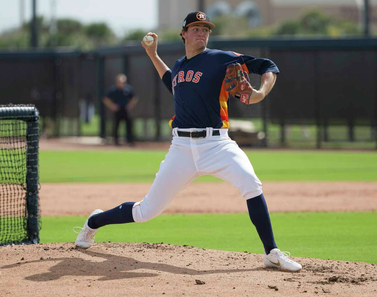 Houston Astros right handed pitcher Forrest Whitley (68) pitches to the major league players during live batting practice at Fitteam Ballpark of The Palm Beaches on Day 7 of spring training on Wednesday, Feb. 20, 2019, in West Palm Beach.
