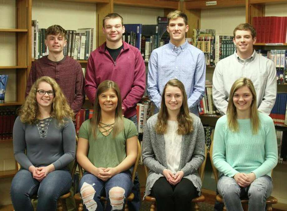 The Lakers 2019 Coming Home senior court members are, front row from left, Greta Elston, Katlin Kady, Meleah Timmons and Shyann Muntz; back row, Brady Rosenthal, Karson Binder, Adam LeGault and Mitchell Richmond. (Submitted Photo)