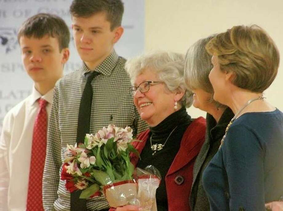 Dotty Scollon is surrounded by family and friends. (Courtesy Photo)