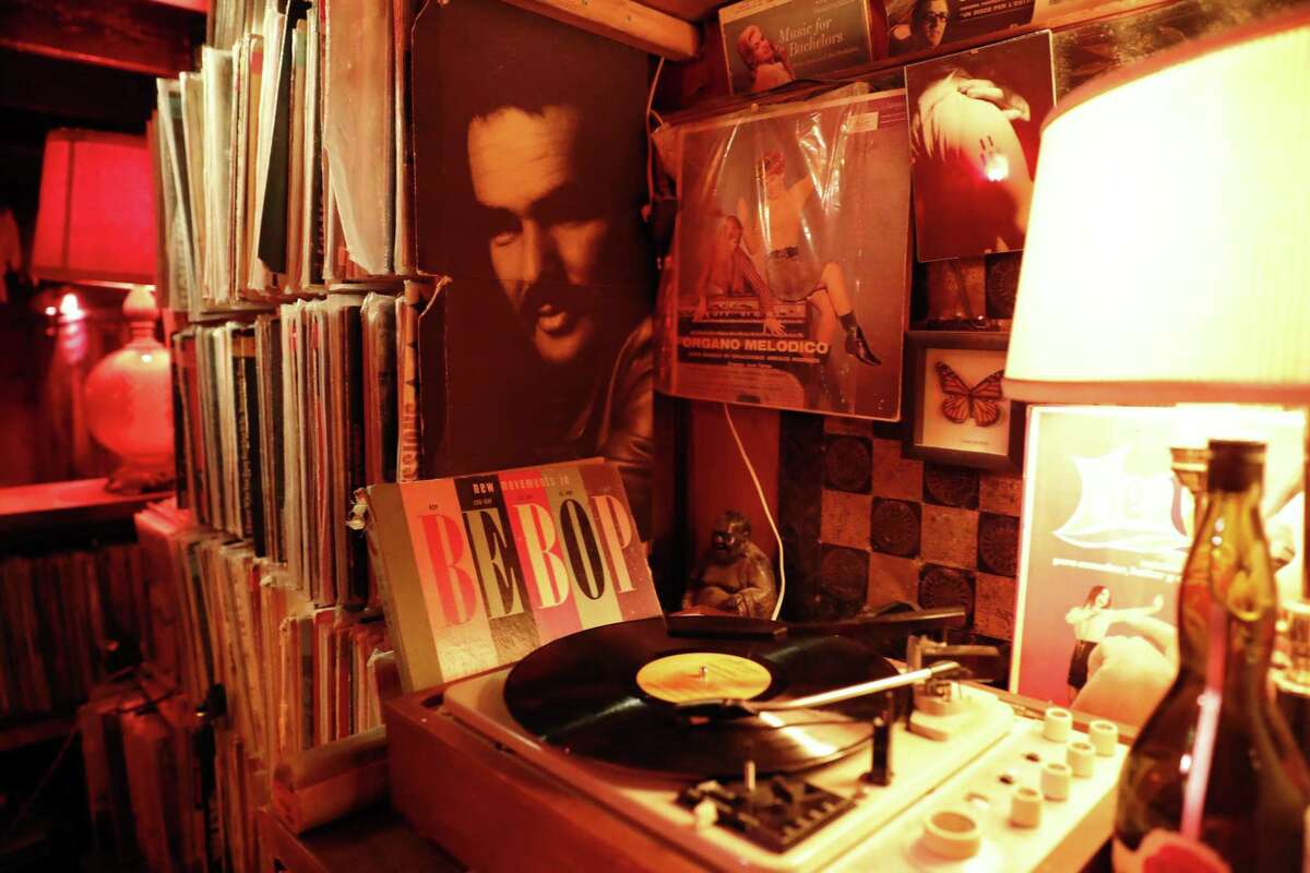 """The turntable at the Royal Cuckoo in S.F. You won't hear anything released after 1975. Says owner Paul Miller: """"There was some cool music after that, obviously, that I like, but it's a slippery slope."""""""