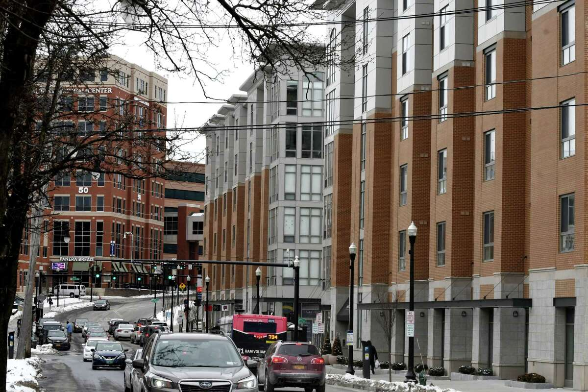 A view looking up New Scotland Avenue toward Albany Medical Center past the Park South Apartments, right, on Wednesday, Feb. 20, 2019, in Albany, N.Y. Will Waldron/Times Union)