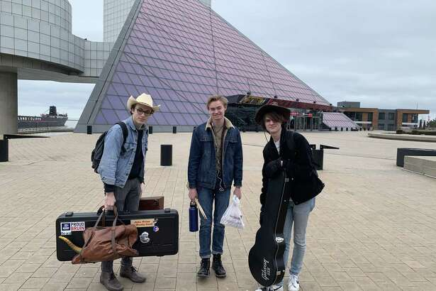 The Woodlands band Peter McPoland and The Haps won the 23rd annual Tri-C High School Rock Off at the Rock and Roll Hall of Fame and Museum in Cleveland, Ohio. Here, McPoland, Joe Curtin and Landon Laney stand in front of the Rock and Roll Hall of Fame.