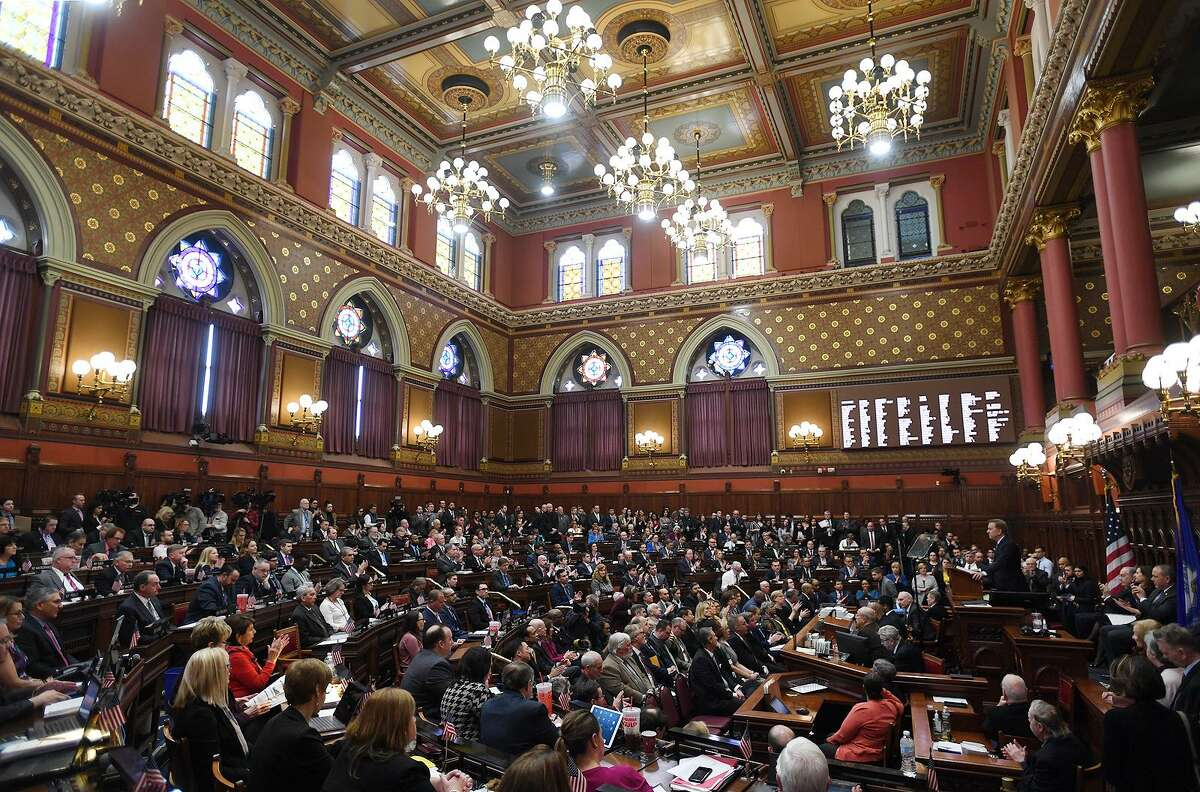 Gov. Ned Lamont delivers his budget address to the General Assembly at the Capitol in Hartford on Feb. 20.