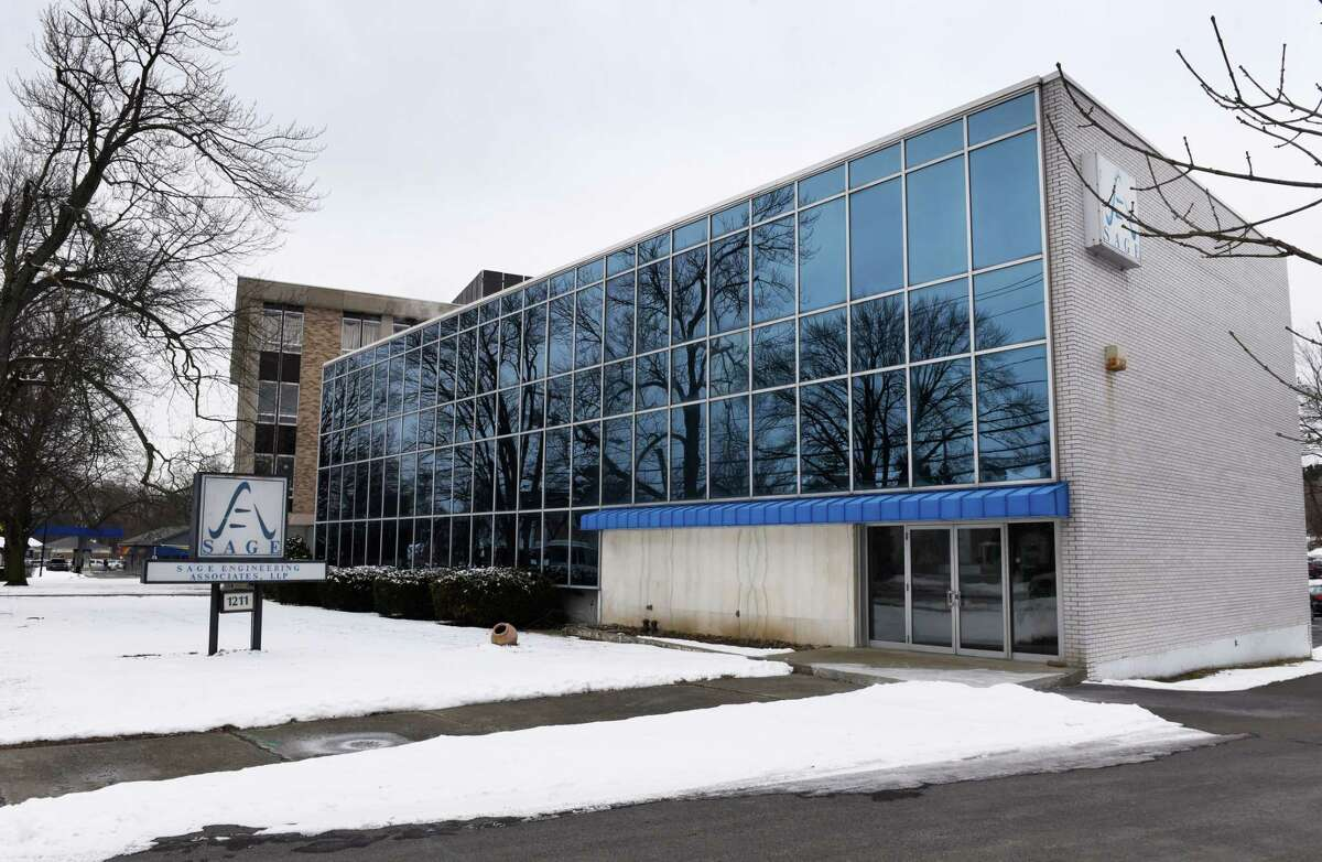 The former Sage Engineering Associates property at 1211 Western Avenue, where a six-story building consisting of 137 one-, two- and three-bedroom apartments along with retail and office space are planned near the University at Albany on Wednesday, Feb. 20, 2019, in Albany, N.Y. (Will Waldron/Times Union)