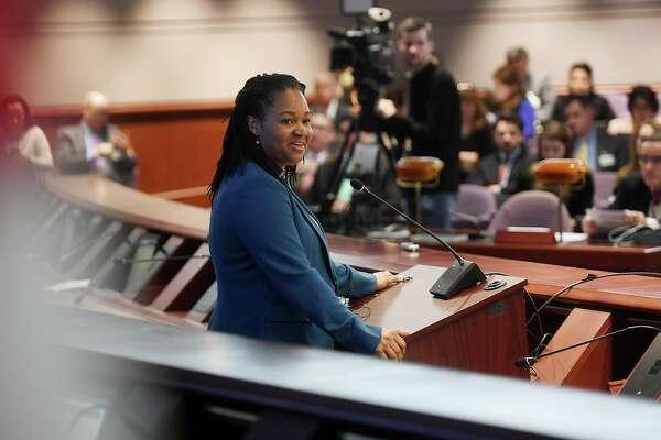 OPM Secretary Melissa McCaw explains Gov. Ned Lamont's proposed budget address in the Legislative Office Building in Hartford, Conn. on Wednesday, Feb. 20, 2019.