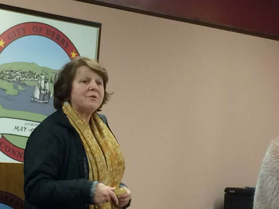 Former Derby Mayor Anita Dugatto spoke in favor of The Hops Co. proposal at the Feb. 19, 2019 meeting of the Derby Planning and Zoning Commission. Photo: / Michael P. Mayko