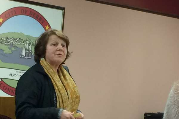 Former Derby Mayor Anita Dugatto spoke in favor of The Hops Co. proposal at the Feb. 19, 2019 meeting of the Derby Planning and Zoning Commission.