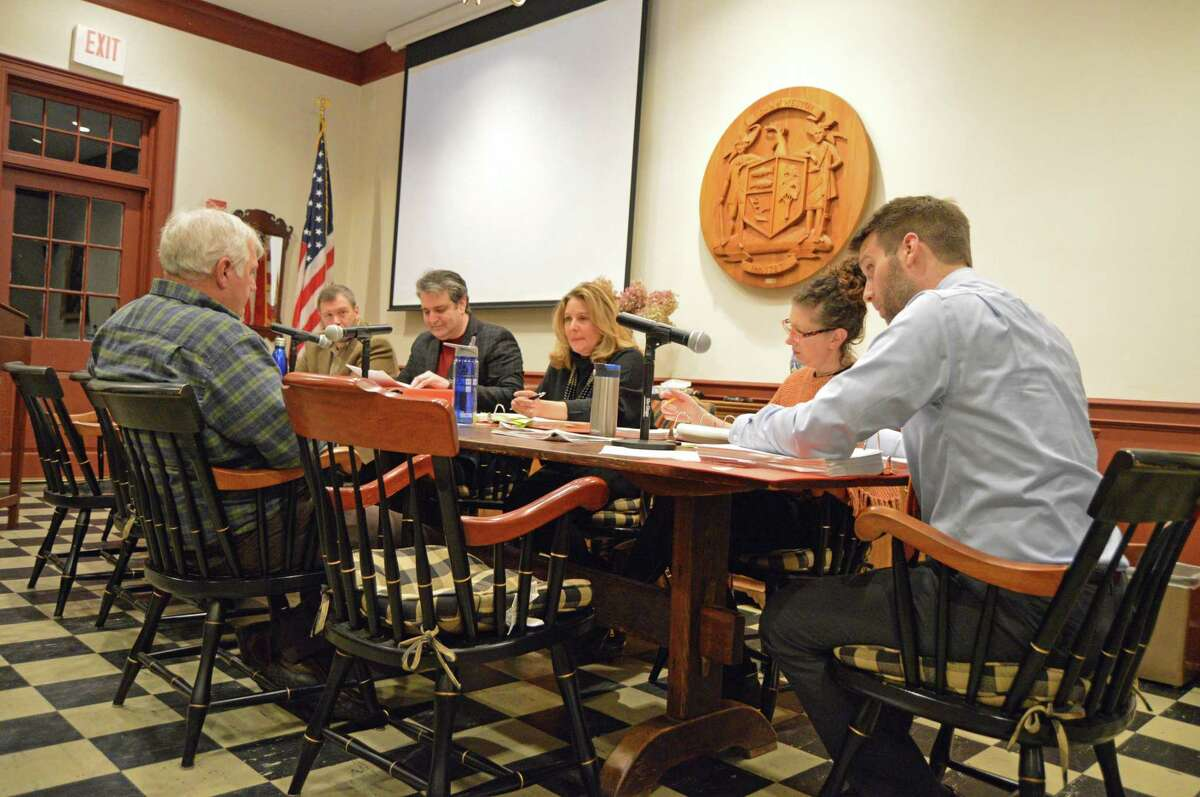 Board of Selectman members discuss the proposed budget Attendees included First Selectman Chris Spaulding, selectmen Stephan Grozinger and Samantha Nestor, Town Administrator Jonathan Luiz, and Administrator Assistant Randi Derene.