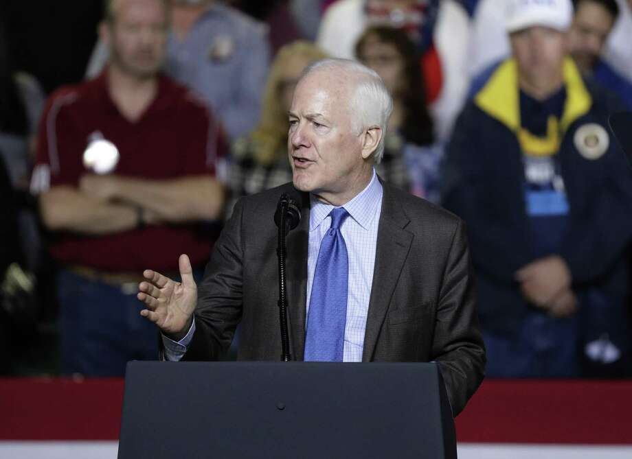 Sen. John Cornyn, R-Texas, address a crowd at a rally for President Donald Trump at the El Paso County Coliseum, Monday, Feb. 11, 2019, in El Paso, Texas. (AP Photo/Eric Gay) Photo: Eric Gay, STF / Associated Press / Copyright 2019 The Associated Press. All rights reserved.