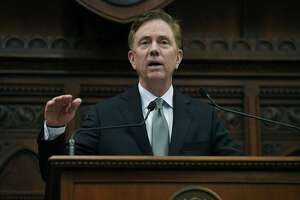 Gov. Ned Lamont delivers his budget address at the State Capitol in Hartford on Feb. 20.