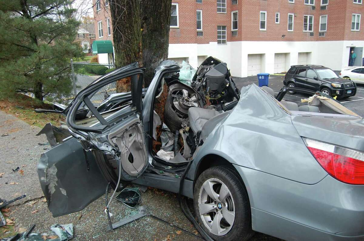 Kadeem Mitchell, who was driving this 2006 BMW when it crashed into a tree on the side of Washington Blvd., in Nov. 2017, is on trial for manslaughter for the death of his passenger, Donte Smith.