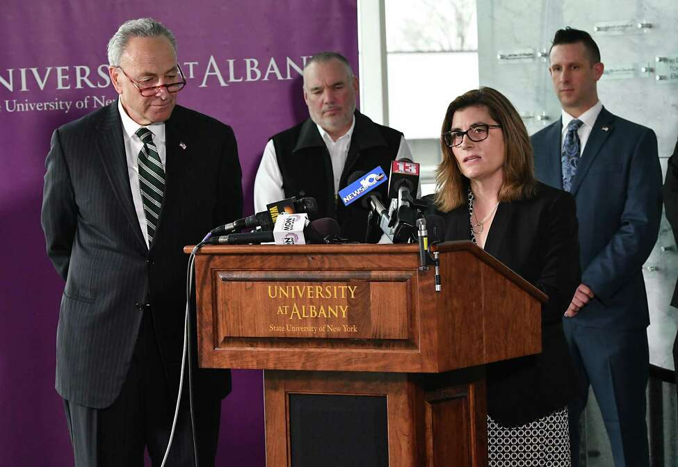 Dr. Erin Bell, an Epidemiologist at University at Albany?•s School of Public Health, speaks during a press conference that U.S. Senator Charles Schumer, left, held at the at the University at Albany?•s Cancer Research Center to announce an intention by the Environmental Protection Agency (EPA) on Wednesday, Feb. 20, 2019 in East Greenbush, N.Y. He said the EPA has finally stated, in writing, their intention to set a Maximum Contaminant Level (MCL) under the Safe Drinking Water Act for highly toxic PFOA/PFOS chemicals that have plagued Hoosick Falls and Petersburgh for years. (Lori Van Buren/Times Union)