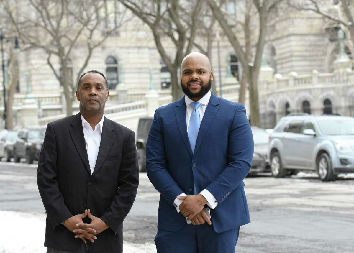 Upstate New York Black Chamber of Commerce COO Jahkeen Hoke, left, and CEO Anthony Gaddy stand for a portrait on Wednesday, Feb. 20, 2019 outside of the Bull Moose Club in Albany, NY. (Phoebe Sheehan/Times Union)