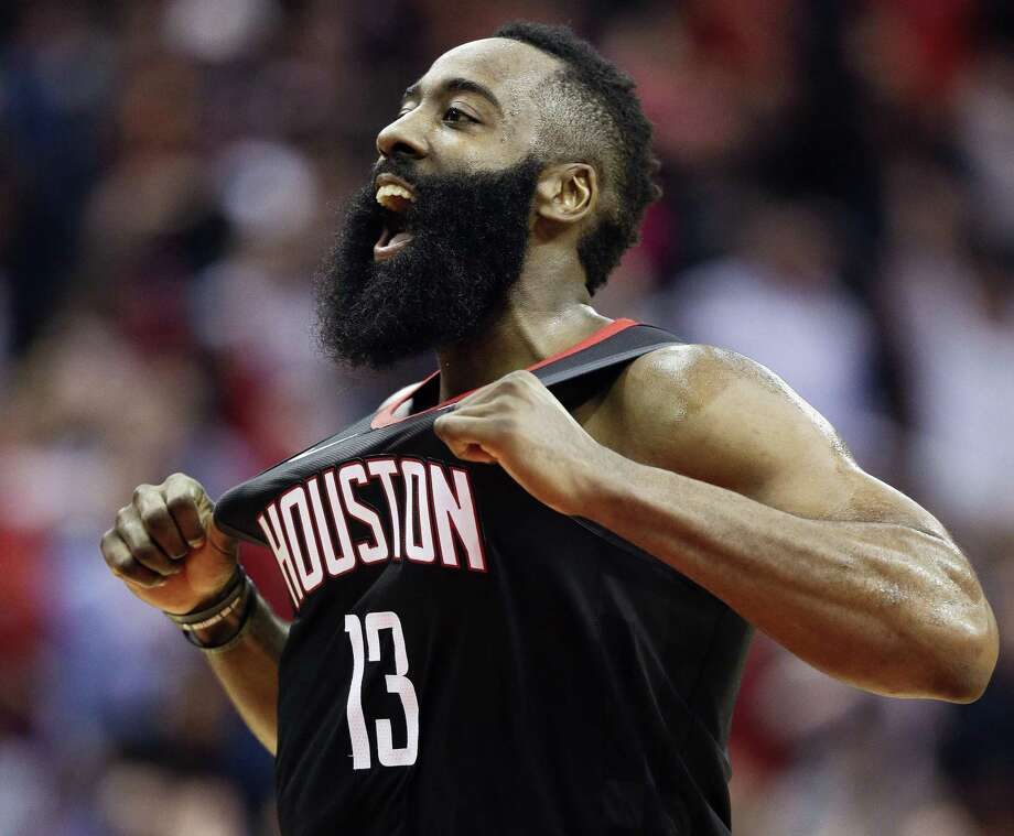 FILE - In this Dec. 17, 2018, file photo, Houston Rockets guard James Harden reacts after making a three-point basket late in the second half of an NBA basketball game against the Utah Jazz, in Houston. Harden has a shot at the record for 3s in a single season. He has 274 (which would be fifth-best for a season already), putting him on pace for 401 if he plays in all 25 of the Rockets' remaining games. Golden State's Stephen Curry holds the mark with 402 makes from deep in 2015-16.(AP Photo/Eric Christian Smith) Photo: Eric Christian Smith, FRE / Associated Press / Copyright 2018 The Associated Press. All rights reserved.