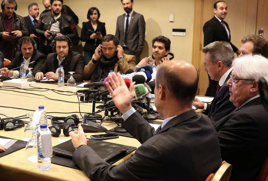 Yemeni government delegates and Houthi rebels listen to translations through headsets during a meeting with United Nations Special Envoy to Yemen Martin Griffiths, center right, and International Committee of the Red Cross President Peter Maurer, second from the left, in Amman, Jordan. Foreign language skills are vital in a complex, global world, but U.S. colleges are shutting down language programs. Photo: Khalil Mazraawi / AFP / Getty Images