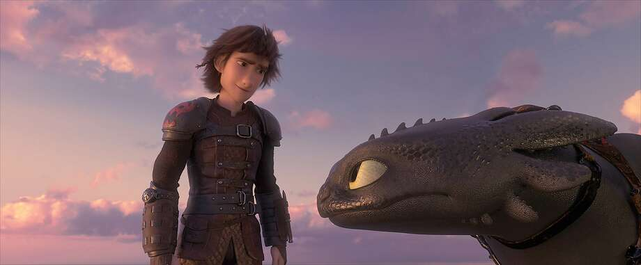 "Hiccup (voice of Jay Baruchel, left) and his Night Fury dragon, Toothless, in ""How To Train Your Dragon: The Hidden World.""  Photo: DreamWorks Animation"
