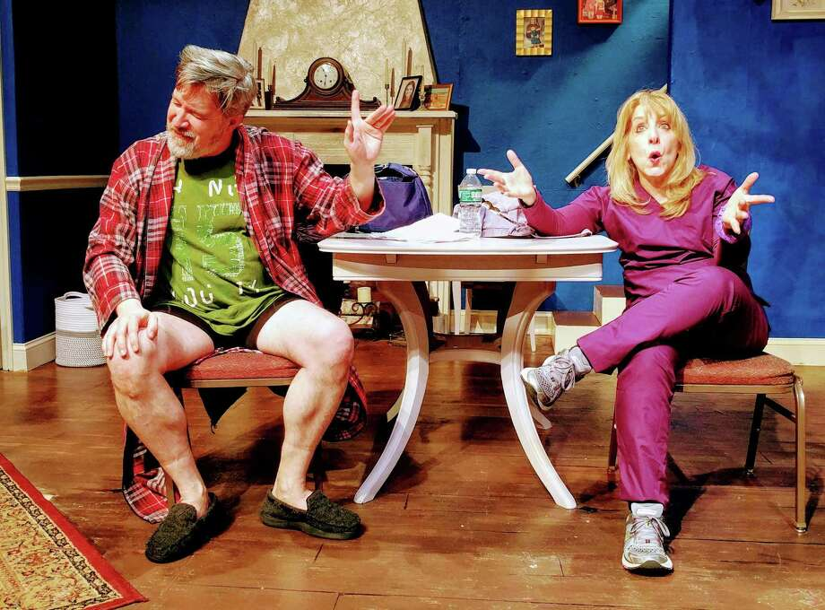 """Clark (Timothy Huber) isn't very enthusiastic about Lizzie's (Lori Franzese) idea in """"Waiting for Hugot,"""" by C.J. Ehrlich. """"Waiting for Hugot"""" is part of """"An Evening of One Acts 2019,"""" onstage at the Ridgefield Theater Barn, March 8-30. Photo: Paulette Layton / Contributed Photo"""