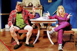 """Clark (Timothy Huber) isn't very enthusiastic about Lizzie's (Lori Franzese) idea in """"Waiting for Hugot,"""" by C.J. Ehrlich. """"Waiting for Hugot"""" is part of """"An Evening of One Acts 2019,"""" onstage at the Ridgefield Theater Barn, March 8-30."""