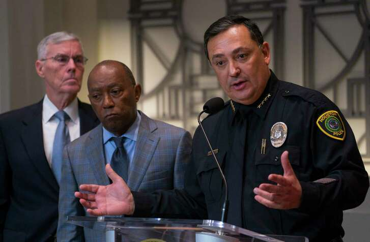 Houston Police Department Chief Art Acevedo Joins Mayor Sylvester Turner During A Press Conference Updating