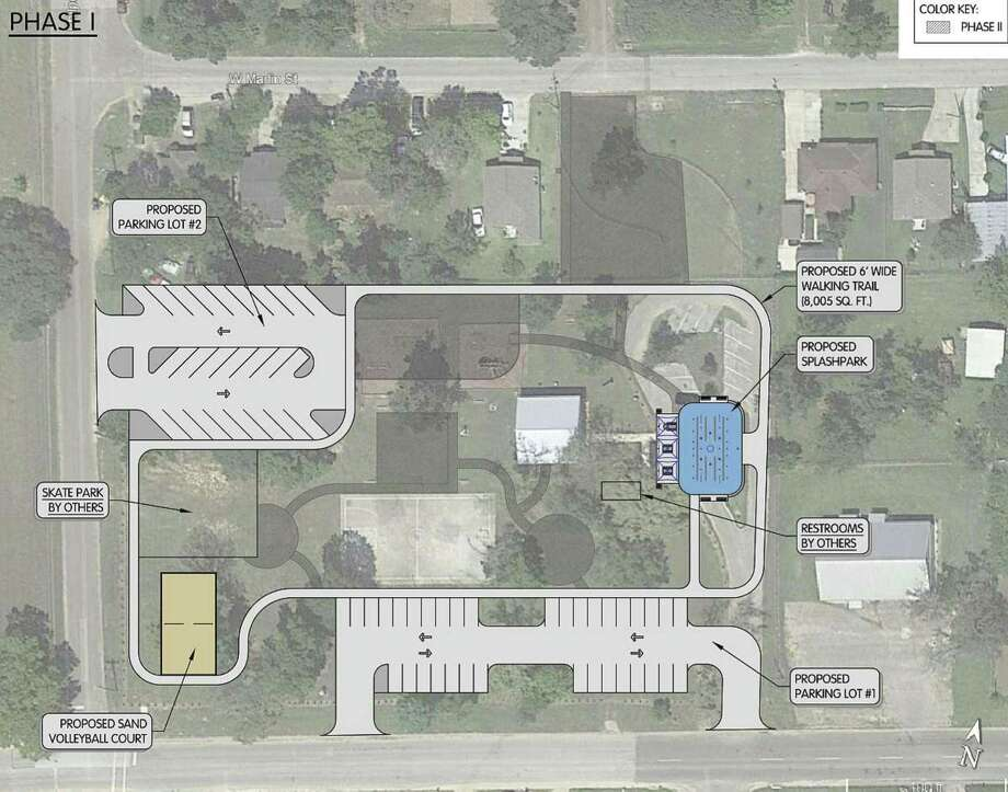 A rendering shows plans for a new splash pad, skate park, volleyball court, and more upgrades to MLK Park located at 706 Martin Luther King Blvd.