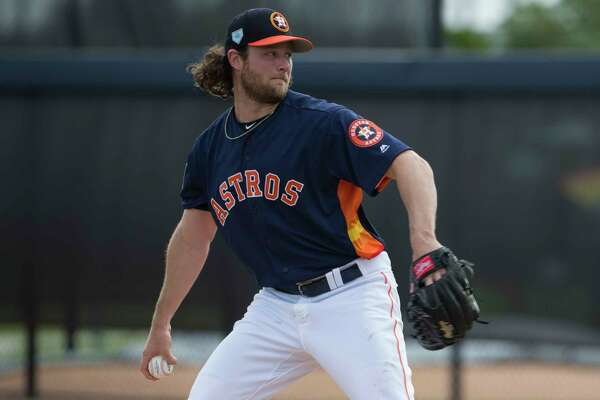Houston Astros right handed pitcher Gerrit Cole (45) pitches during live batting practice at Fitteam Ballpark of The Palm Beaches on Day 7 of spring training on Wednesday, Feb. 20, 2019, in West Palm Beach.