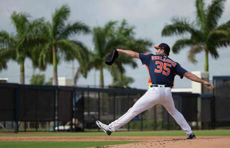 Houston Astros right handed pitcher Justin Verlander (35) pitches during live batting practice at Fitteam Ballpark of The Palm Beaches on Day 7 of spring training on Wednesday, Feb. 20, 2019, in West Palm Beach.